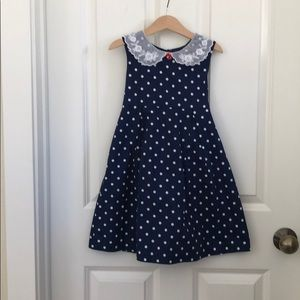 Laura Ashley polka dot cotton dress w/ lace collar
